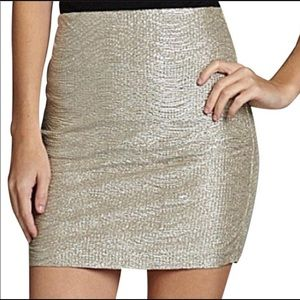 BCBGeneration Metallic Mini Skirt Silver Elastic S